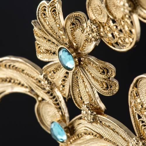 Reliquary in silver 800, golden filigree decoration, 36 cm s14