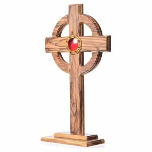 Olivenholz Monstranzen, Custodien, Reliquiaren: Reliquiar Olivenholz Keltisch Kreuz achteckigen Schrein