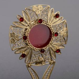 Reliquiario filigrana arg. 800 pietre rosse s3