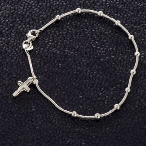 Silver bracelets: Rhodium-plated sterling silver bracelet with cross