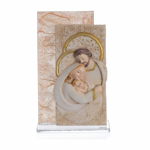 Ricordino Matrimonio S. Famiglia carta seta Ambra 11,5 cm s1