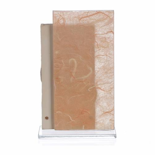 Ricordino Matrimonio S. Famiglia carta seta Ambra 11,5 cm s2