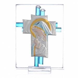 Bomboniere e ricordini: Ricordino Nascita Croce vetro Murano acquamarina e Arg. h. 8 cm