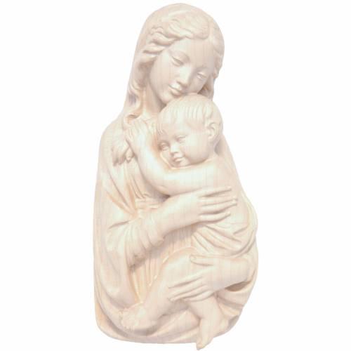 Rilievo Madonna con bimbo legno Valgardena naturale cerato s1