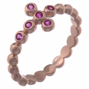 Gebetsringe: Ring AMEM Bällchen rosa Silber 925 violetten Zirkonen