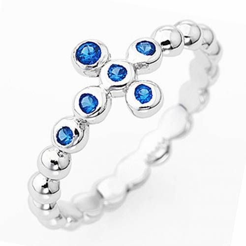 Ring AMEN Cross white silver 925, blue zircons s1
