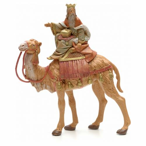 Roi Mage blanc sur chameau crèche Fontanini 19 cm s1
