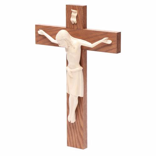 Romanesque crucifix, natural wax Valgardena wood 25cm s2