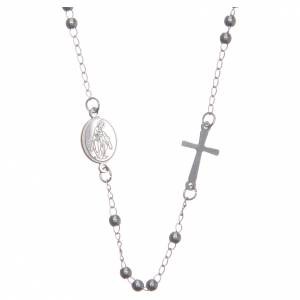 Rosarios metal: Rosario collar cuello redondo color plata de acero 316L