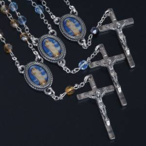 Rosari decina: Rosario decina vetro Madonna Gonari azzurro giallo nero