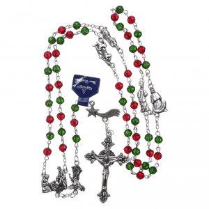 Rosario di Natale in cristallo con libretto preghiere natalizie ITA s4