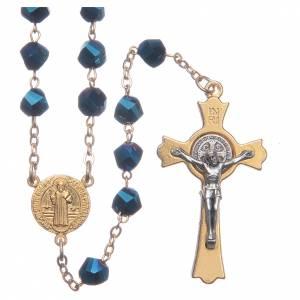 Rosarios y Porta Rosarios Medjugorje: Rosario Medjugorje cristal azul cruz dorada