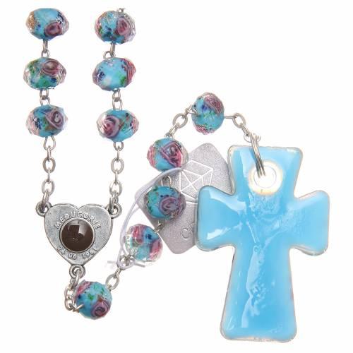 Rosario Medjugorje croce vetro Murano celeste s2