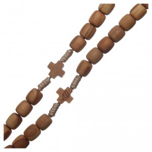 Rosario Medjugorje croci grani 7mm ulivo corda beige s3