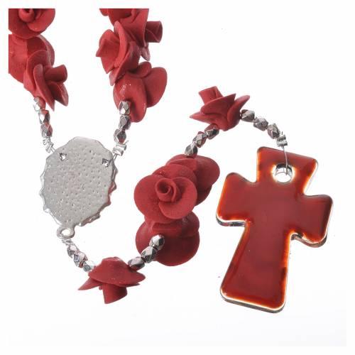 Rosario Medjugorje rose rosse croce vetro Murano s2