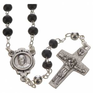 Rosari e Decine: Rosario nero e croce Papa Francesco