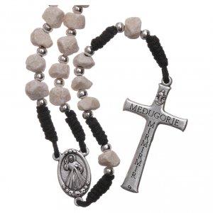 Rosari portarosari Medjugorje: Rosario terra di Medjugorje corda nera pietra