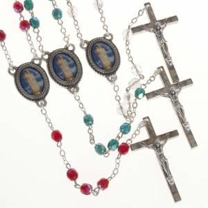 Rosari vetro: Rosario vetro Madonna di Gonari bianco rosso verde