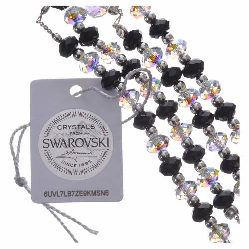 Rosary beads in 800 silver and black and white Swarowski, 6mm s4