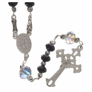 Rosary beads in 800 silver and black Swarowski 6mm and Pater bead 8mm s2