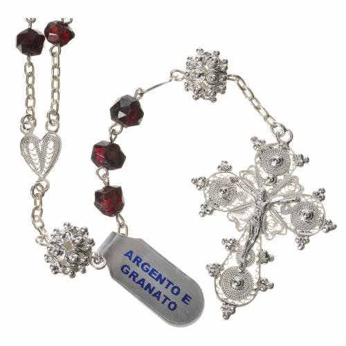 Rosary beads in 800 silver and garnet s1