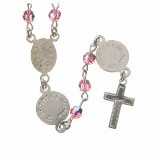 Rosary beads in 800 silver pink  Swarovski, Guardian Angel s2