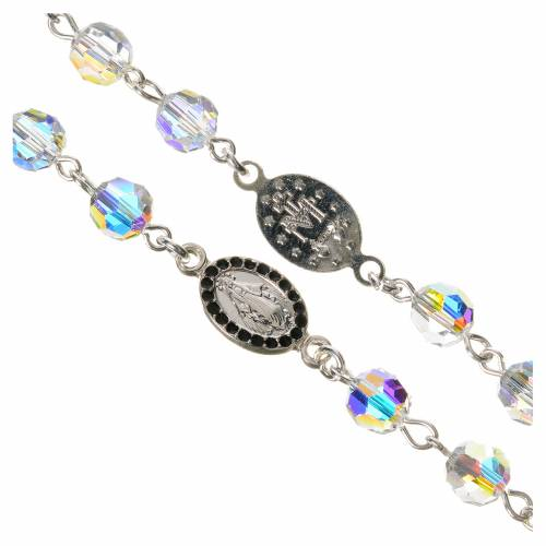 Rosary beads in 800 silver, transp Swarovski, Miraculous Medal s3