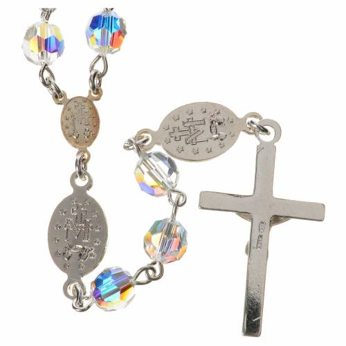 Rosary beads in 800 silver, transp Swarovski, Miraculous Medal s2