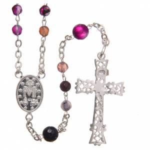 Silver rosaries: Rosary beads in Brazilian agate and sterling silver, 4mm purple