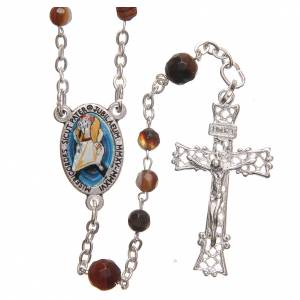 Silver rosaries: STOCK Rosary beads in Brazilian agate and sterling silver with Pope Francis 4mm brown