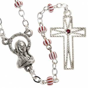 Rosary beads in red & white glass 4 mm s1