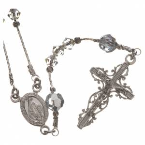 Silver rosaries: Rosary beads in rhodium-plated sterling silver and Swarovski 0,2