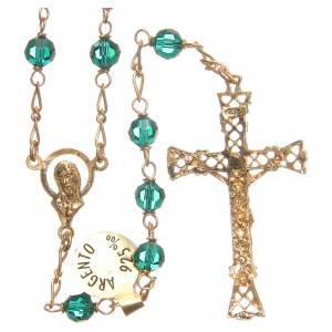 Rosary beads in Swarovski and golden sterling silver 6mm green s2