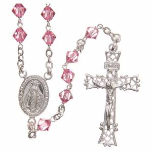 Silver rosaries: Rosary beads in Swarovski and sterling silver 6mm pink