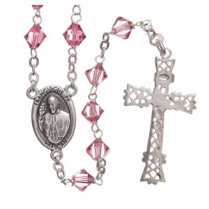 Silver rosaries: STOCK Rosary beads in Swarovski and sterling silver with Jubilee symbol 6mm pink