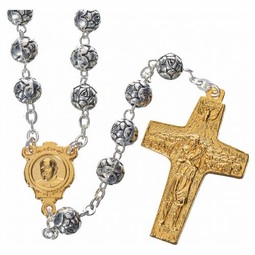 Rosary beads, Pope Francis with metal roses s1