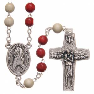 Wood rosaries: STOCK Rosary beads with red and white grains 6mm Jubilee of Mercy