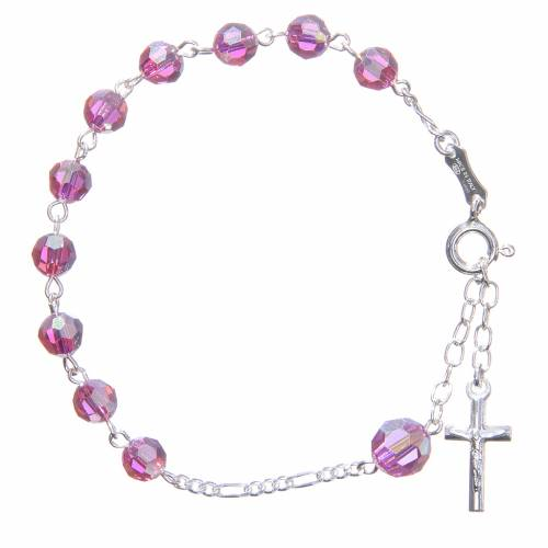 Rosary bracelet with pink Swarowski crystals 6mm s1