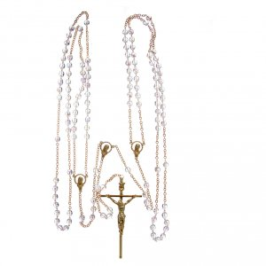 Rosary for wedding in crystal with cross and center piece in metal s4