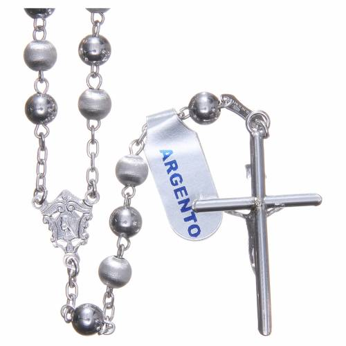 Rosary in 800 silver with 6mm velvety and smooth grains s2