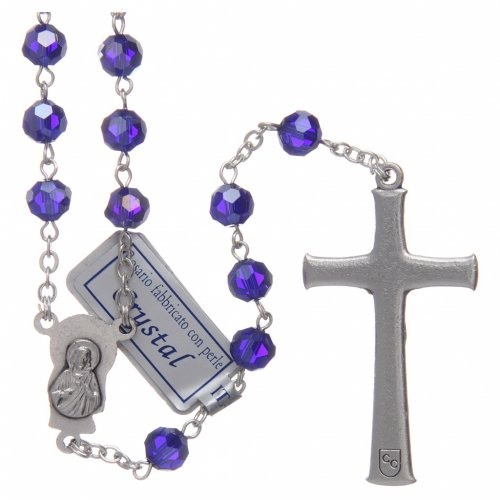 Rosary in blue crystal and oxidised metal s2