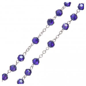 Rosary in blue crystal and oxidised metal s3