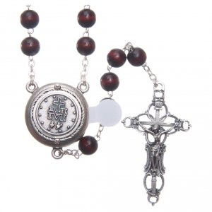 Rosary in burgundy wood with center piece, talking, Pope Francis prayer ENGLISH 8 mm s2