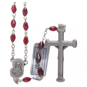 Rosary in garnet crystal with cross and center piece in oxidised metal s2