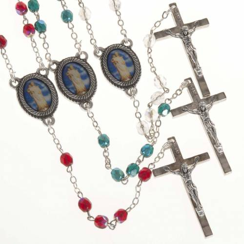 Rosary in glass with Our Lady of Gonare, red, white and green s1