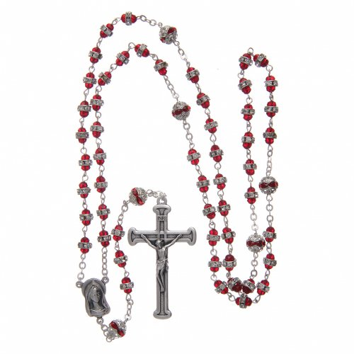 Rosary in oxidised metal ruby pearl with strass 4