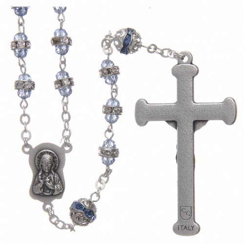 Rosary in oxidised metal sapphire pearl with strass s2