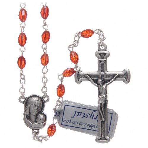 Rosary in ruby crystal with cross and center piece in oxidised metal s1