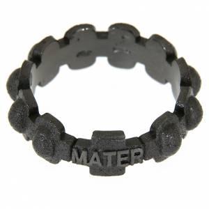 Prayer rings: Rosary ring in dark silver 925 glazed finishing, MATER
