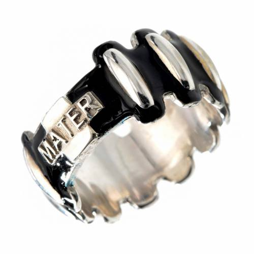 Rosary ring in silver 925 with black enamel, MATER s1